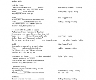Song Worksheet Love Story by Taylor Swift