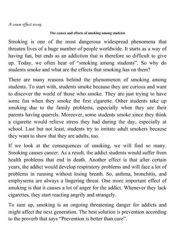 The Causes And Effects Of Smoking Among Students