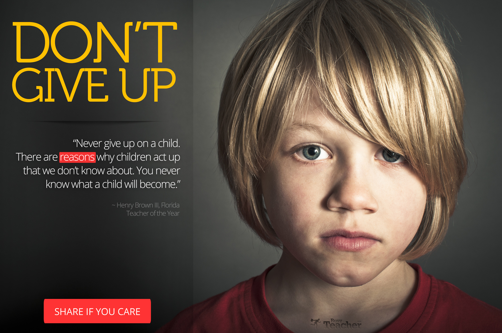 Never Give Up On A Child Poster