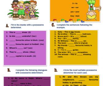Possessive Determiners Elementary Worksheet