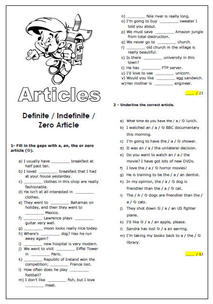 28 Free Zero Article Worksheets
