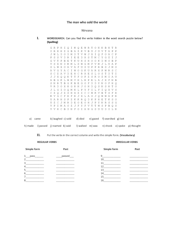 Song Worksheet: The Man Who Sold the World by Nirvana(Past