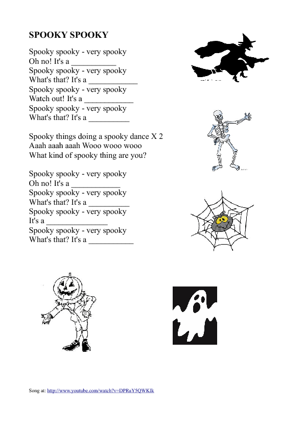 Song Worksheet: Halloween Vocabulary