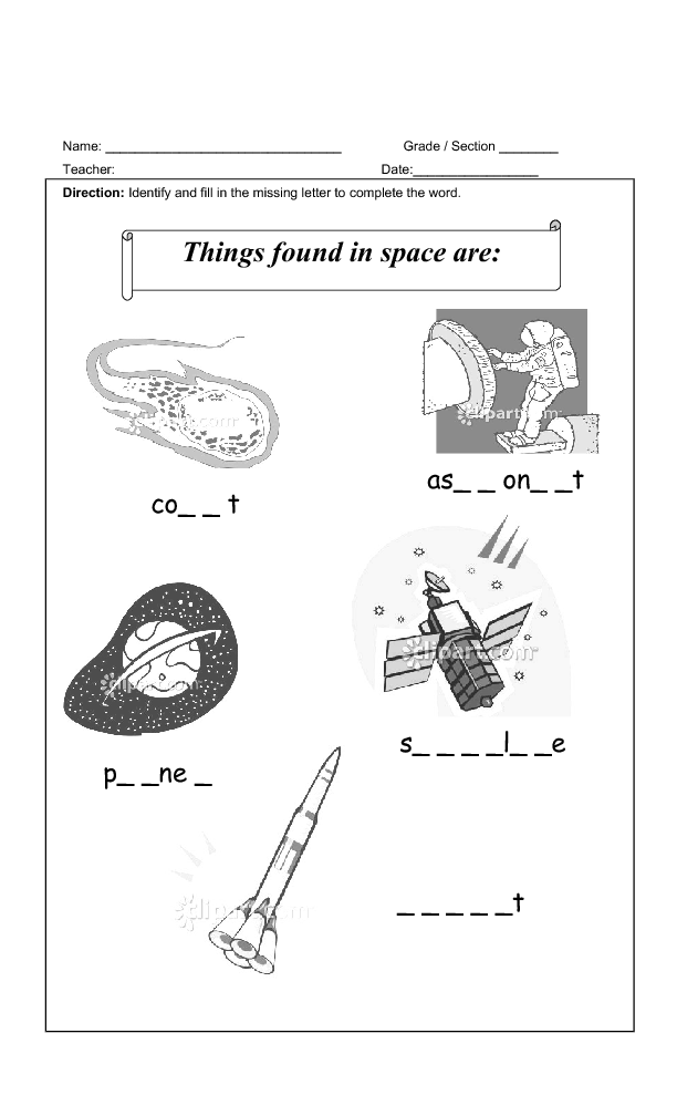 58 FREE Space Worksheets