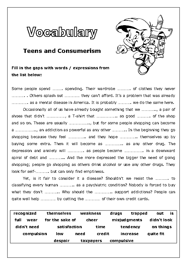 Teens And Consumerism Vocabulary Worksheet