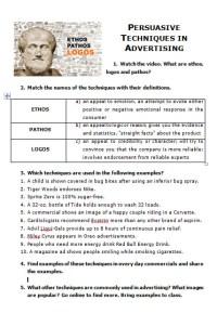 √ Ethos Pathos Logos Worksheet   Ethos
