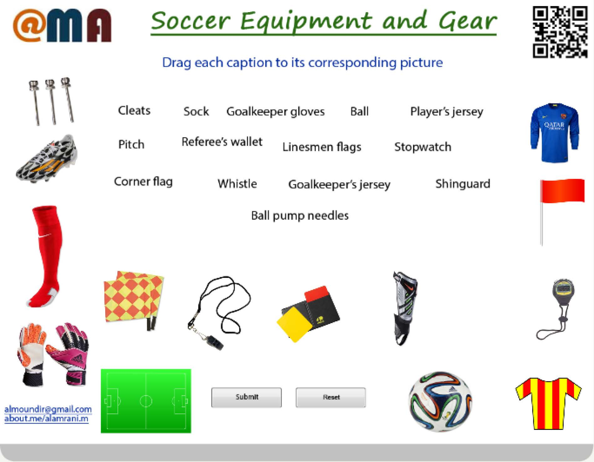 Soccer Equipment And Gear Drag And Drop Activity
