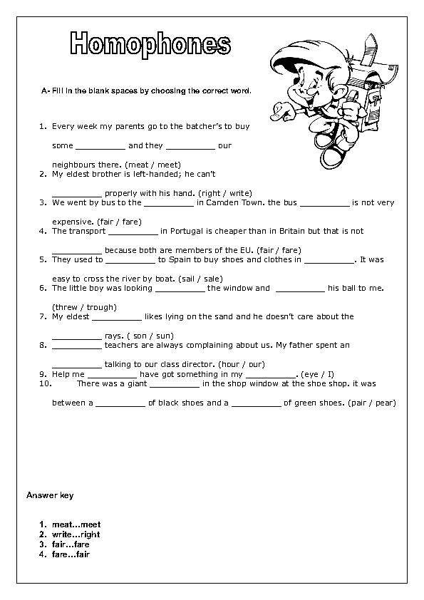Homophones Worksheet Ii