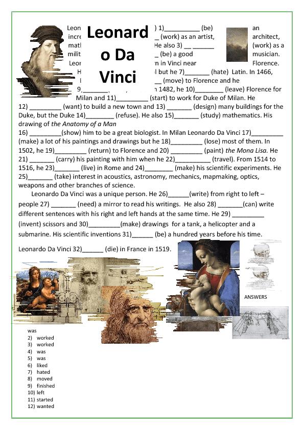 Grammar Worksheet Leonardo Da Vinci