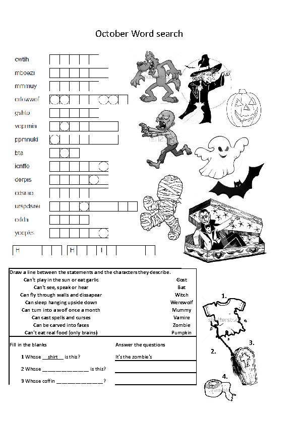 Halloween Double Sided Worksheet Elementary Grade 4/5
