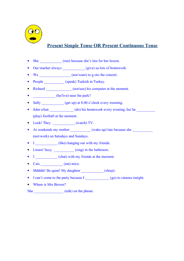 Simple Present Or Present Continuous