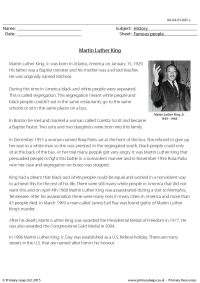 Reading comprehension - Martin Luther King
