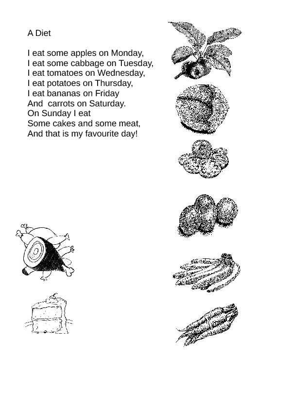 A Diet: Days of the Week Poem