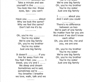 Song Worksheet One Big Family By Maher Zain