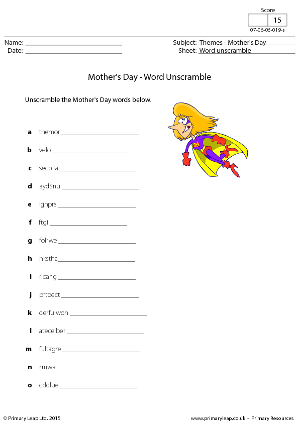 Mothers Day  Word Scramble