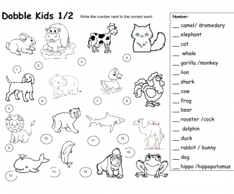 Dobble Kids Animal Worksheet