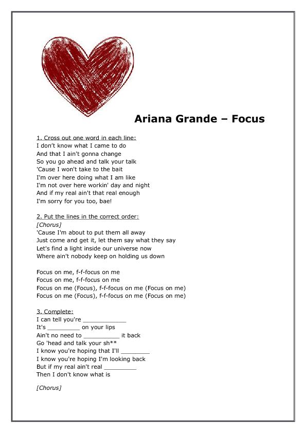 Song Worksheet Focus By Ariana Grande