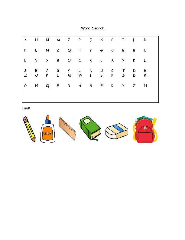School Objects Word Search