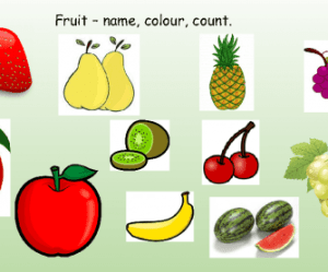 Fruit  Name, Colours, Counting