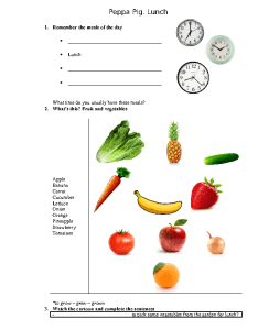 Movie worksheet peppa pig lunch also free fruit and vegetables worksheets rh busyteacher