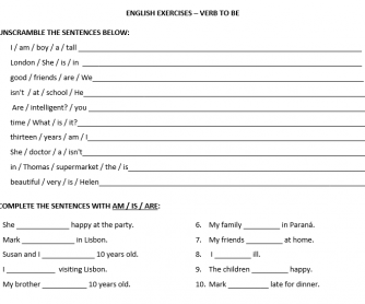 To Be Simple Present Worksheet