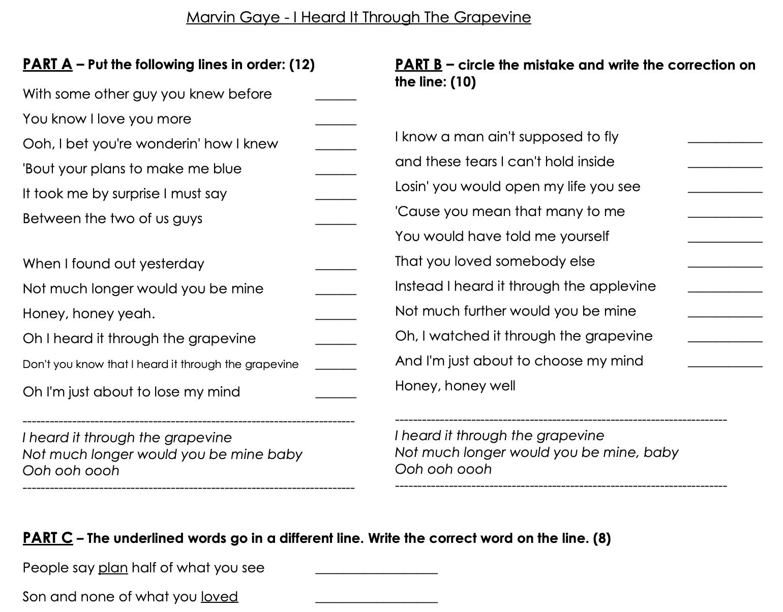 Song Worksheet I Heard It Through The G Vine
