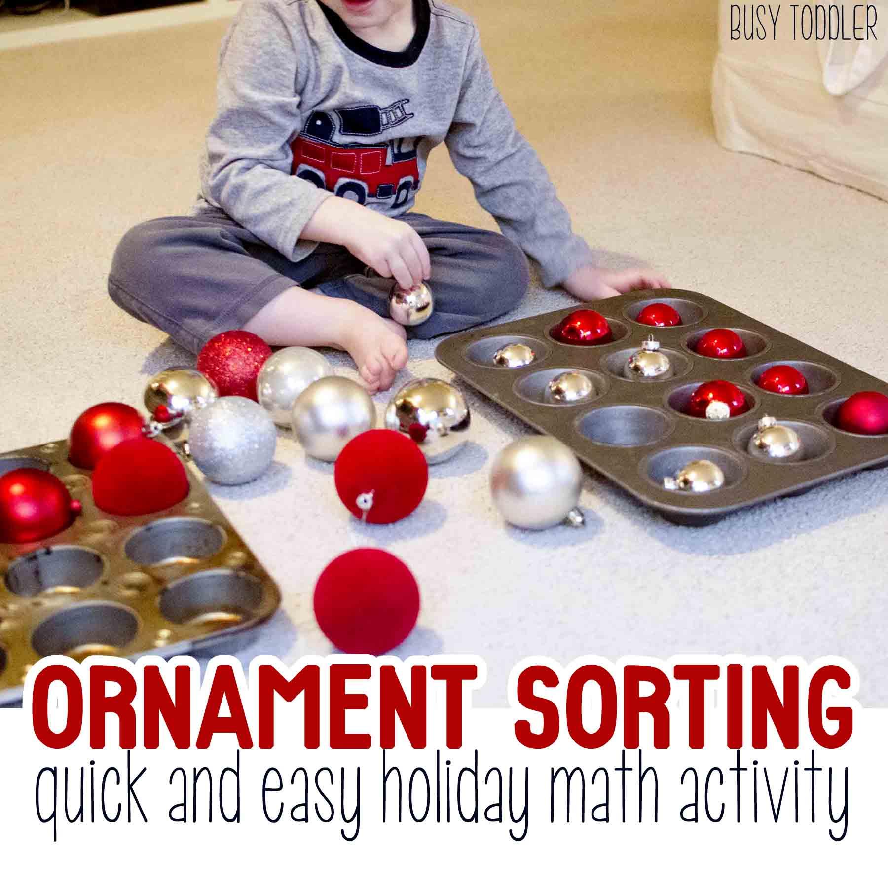Ornament Sorting Holiday Math Activity