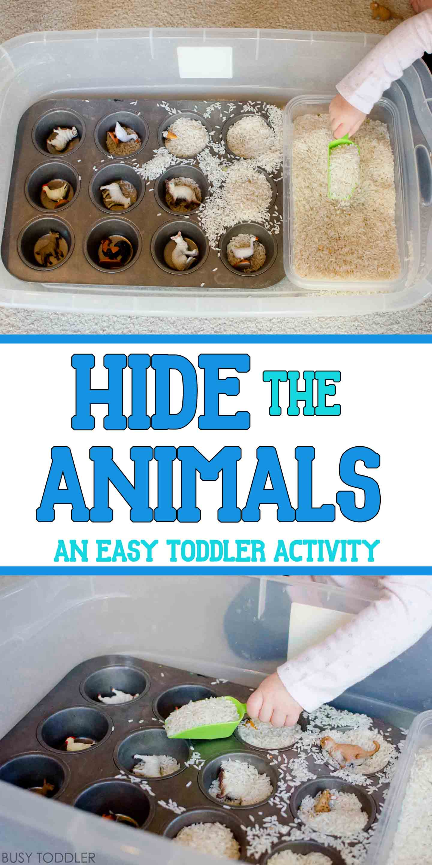Hide The Animals Quick Sensory Bin