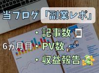 当ブログ『副業レポ』6ヵ月目の記事数・PV数・収益報告