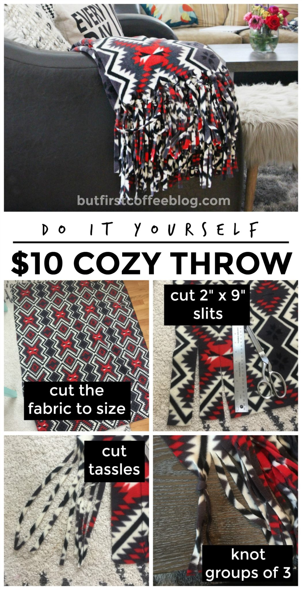 How to Make a Cozy, No Sew Throw Blanket Tutorial