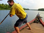 ::Alan trying out the punting. It's tough work!::