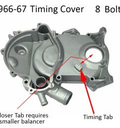 1966 67 pontiac timing cover 8 bolt tab style [ 1000 x 907 Pixel ]