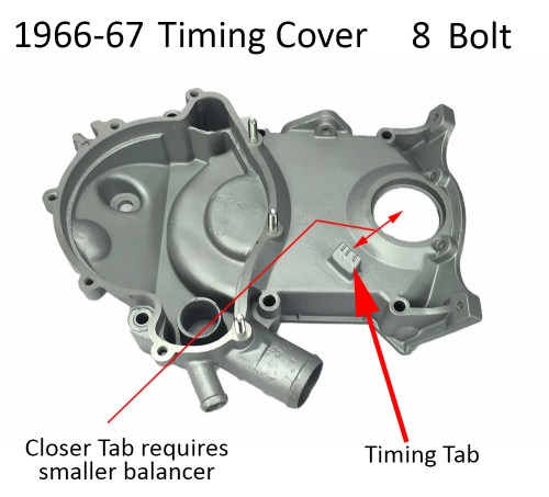 small resolution of 1966 67 pontiac timing cover 8 bolt tab style