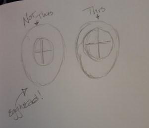 Rough egg sketches