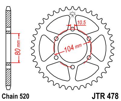 JTR478.46 Звезда задняя 46 зубов