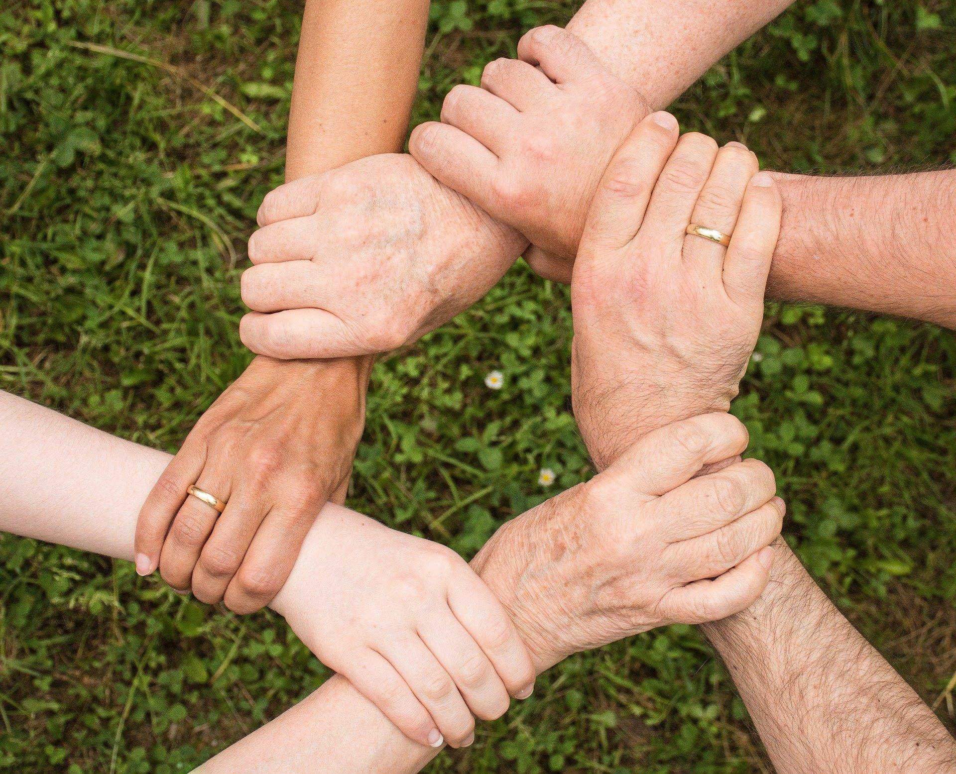 6本の手が互いの手首を掴み合っている