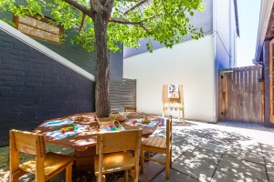 Buttercups Childcare's Dedicated courtyard for arts and craft