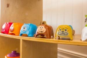 Kids Cute Cartoon Animal Plastic Stools on table