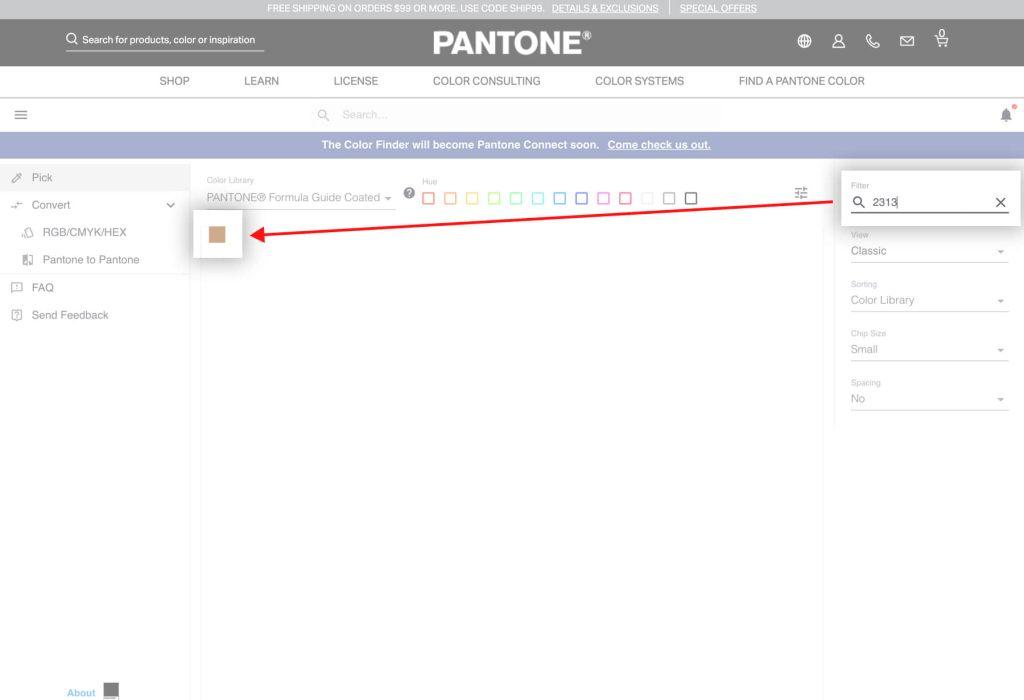 Pantone官方網站輸入色碼找色票