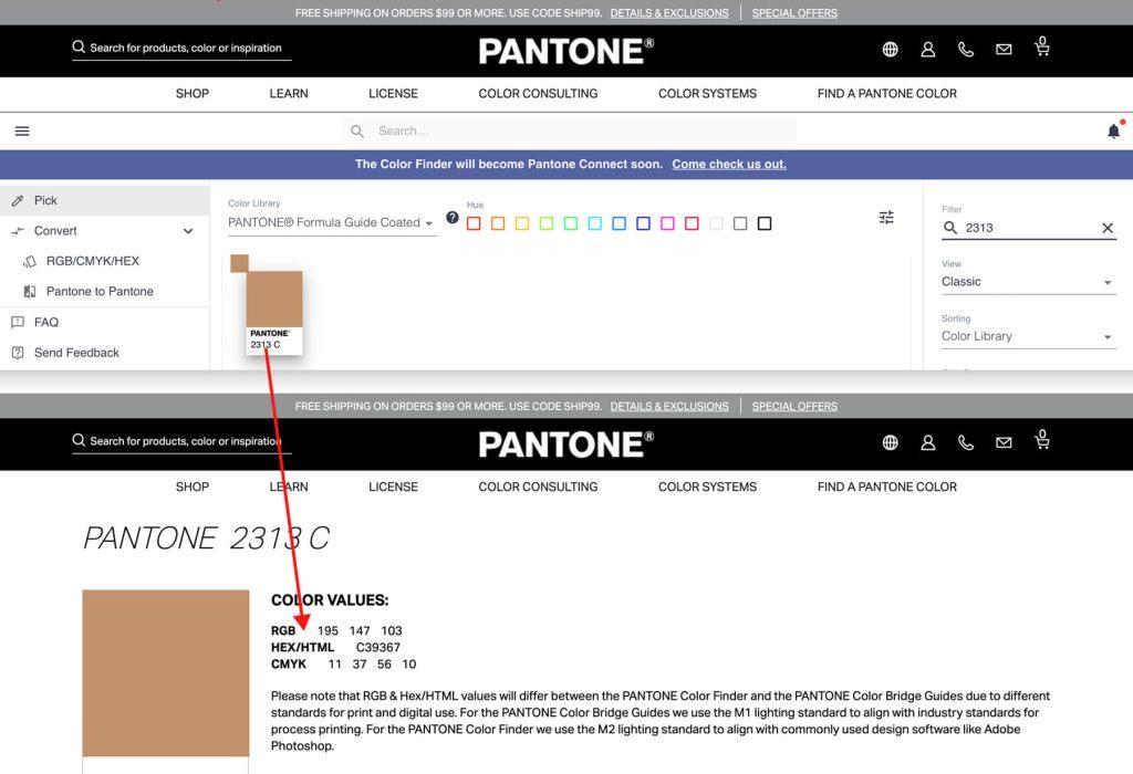 Pantone官方網站色票詳細各種標示數值