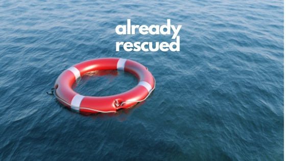 Life saving ring on water-already rescued