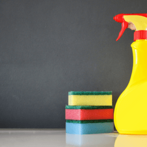 3 sponges and a cleaning bottle-Spring Cleaning
