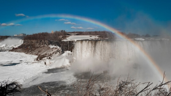 Waterfall with rainbow-finding hope during a crisis