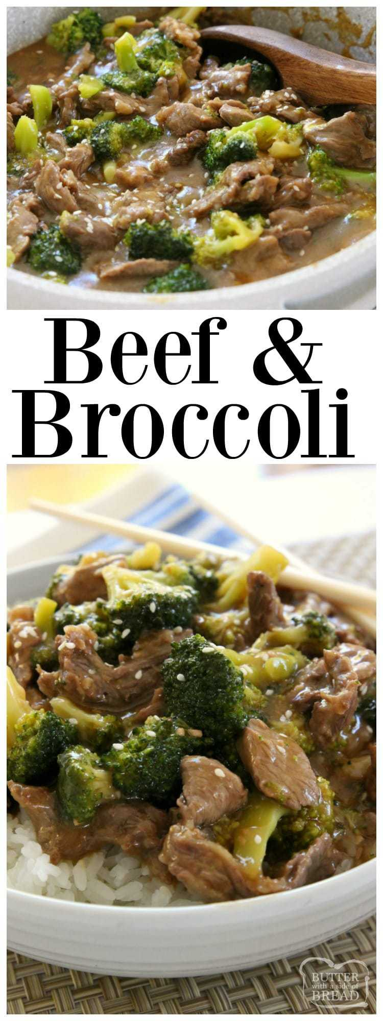 Beef and Broccoli recipe with sliced beef in a flavorful sauce with garlic, ginger & fresh broccoli.Simple to make & tastes like it's from a restaurant! Easy #Beef and #Broccoli #Asian style #recipe for #dinner Butter With A Side of Bread
