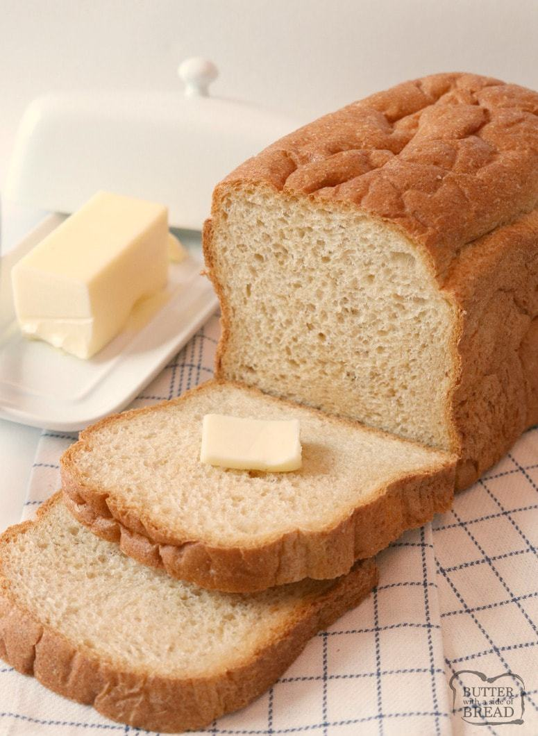 Easy Homemade Bread Recipe Butter With A Side Of Bread