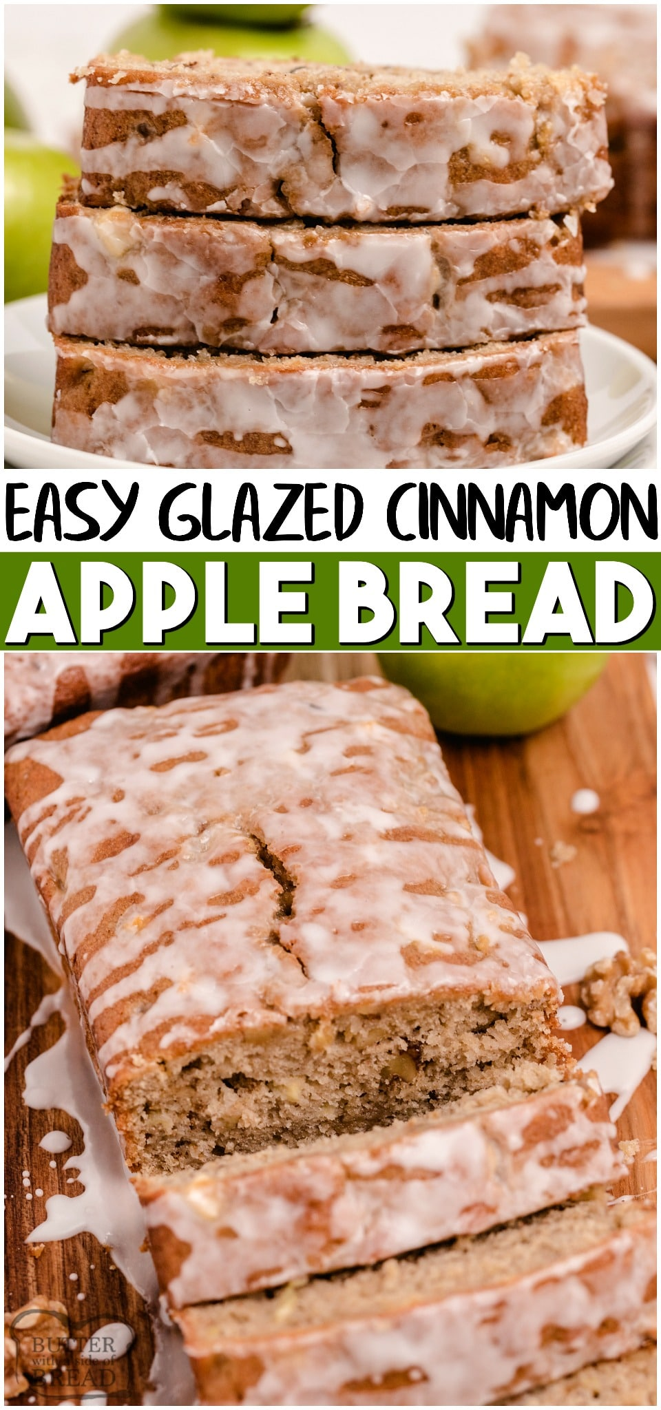 Apple walnut bread is a sweet apple bread recipe with walnuts! Perfect apple quick bread recipe with a light glaze that everyone loves!