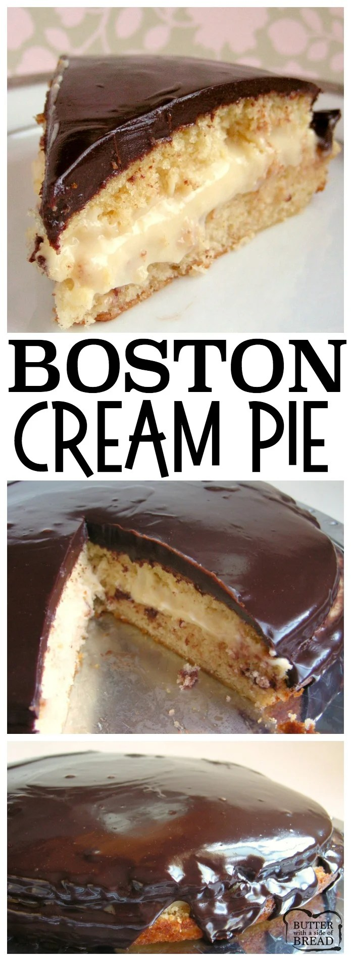 Boston Cream Pie made from scratch in your own kitchen! Step by step instructions on how to make vanilla custard, easy single layer cake and smooth, rich chocolate ganache for this classic Boston Cream Pie recipe. Layer it all together and you've got a show stopping dessert that tastes incredible. Easy Boston Creme Pie recipe from Butter With A Side of Bread #dessert #custard #chocolate #cake #pie #BostonCreamPie #food #recipe #homemade