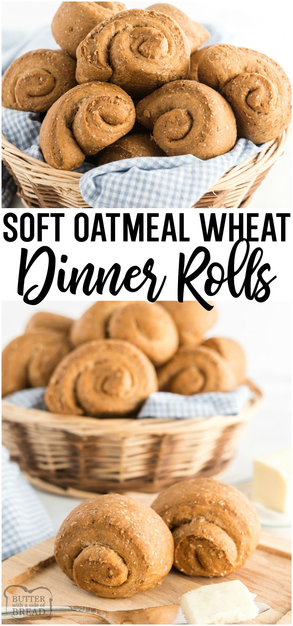Soft Wheat Dinner Rolls made with whole wheat flour, yeast, oats and molasses for a homemade roll with fantastic taste and texture! Family favorite wheat dinner roll recipe!