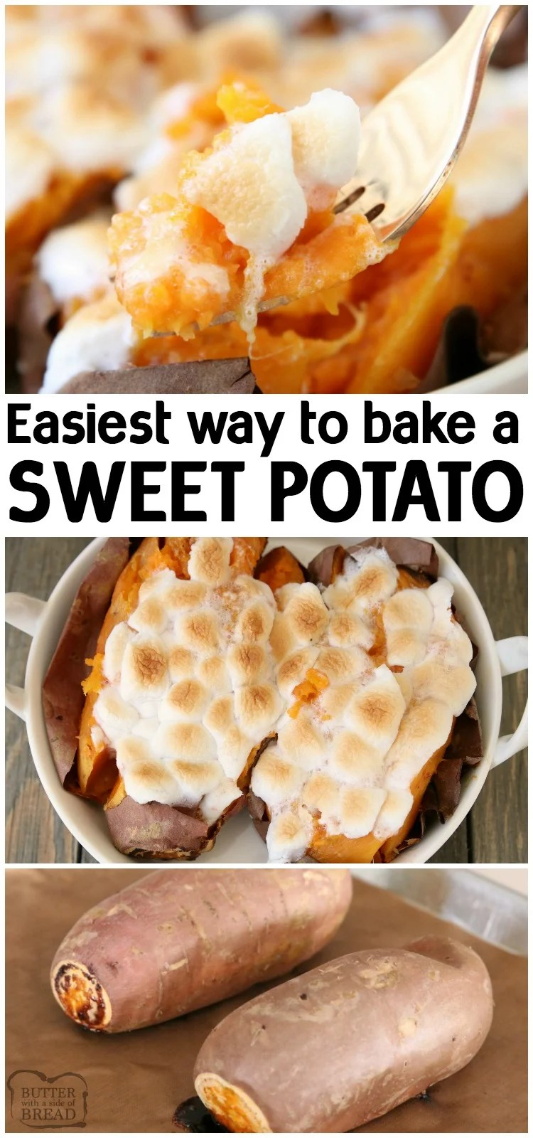 Baked Sweet Potato using the easiest method ever! Super simple, tried and true way that shows just how easy it is to bake a sweet potato. #sweetpotatoes #sweetpotato #baking #food #recipe