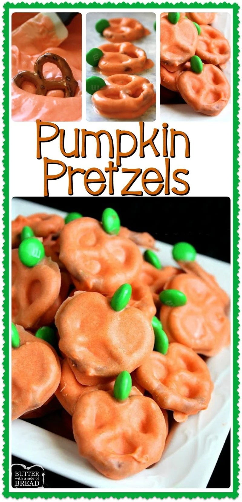 Pumpkin Pretzels are chocolate covered pretzels made with just a few ingredients & perfect for Halloween! Tips for melting chocolate & the BEST tool to use to make these darling chocolate covered pretzels. Easy #Halloween #dessert from Butter With A Side of Bread